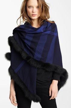 Burberry fox fur trim wool wrap.