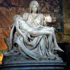 *Pieta(Michelangelo),1498   Sculpture is protected in San Pietro Cathedral.Made for French Bishop Jean Bilheres.Mother Mary and Jesus in sculpture but this sculpture is special because Mother Mary is young. This work ended in fourth attempt.