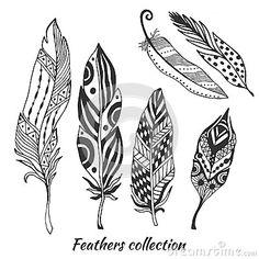 Colección estilizada dibujada mano del vector de las plumas Sistema de plumas tribales del garabato Pluma linda del zentangle par