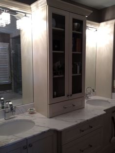 Custom Bathroom Vanities With Linen Tower custom vanity with linen tower, and pull out trash can, etc