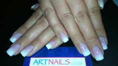 Ombre white and dark pink faded acrylic nails Acrylic Nail Art, Glitter Nail Art, Pink White Nails, Dark, Acrylics