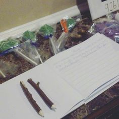 Guest book Pencil logs with our names and dates on it