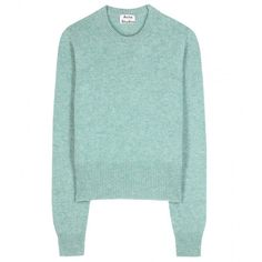 Acne Studios Henriettea Wool Sweater ($290) ❤ liked on Polyvore featuring tops, sweaters, turquoise, woolen sweaters, wool sweater, acne studios, green sweater and green top