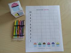 Izzie, Mac and Me: Math Activities - make a dice with colored cupcakes or have students pick cards from pile