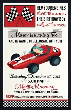 Invitation from the Vintage Race Car DIY Printable Collection by