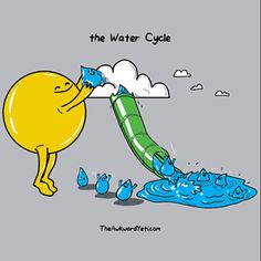 Funny pictures about The water cycle simplified. Oh, and cool pics about The water cycle simplified. Also, The water cycle simplified. Funny Shit, Funny Memes, Hilarious, Funny Quotes, Funny Facts, The Awkward Yeti, Science Jokes, Science Cartoons, Chemistry Jokes