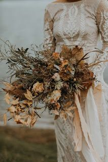 Wedding Trends Wild And Weathered – Sustainable Country Wedding Inspiration - Wild And Weathered - Sustainable Country Wedding Inspiration styled with sustainable country decor, dried flowers and foliage and tones of copper and brown. Dried Flower Bouquet, Flower Bouquet Wedding, Dried Flowers, Floral Wedding, Elegant Wedding, Rustic Wedding, Brown Flowers, Boho Wedding, Country Wedding Gowns