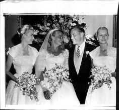 Press photo of Grace Kelly at her sisters wedding. Grace served as bridesmaid (along with her elder sister Peggy) to her younger sister Lizanne, who married Donald Levine in June 1955.