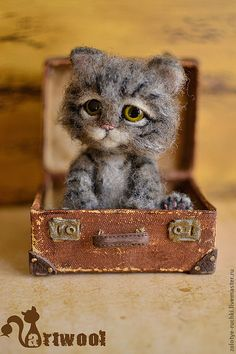 Attic kitten in a suitcase; suitcase size 10x7 cm kitten in height 9 cm; materials: hair, eyes of a copyrighted work, fimo polymer clay (fimo), textiles, cardboard, acrylic, and more | Artist: Natalia Kuznetsova, Moscow, Russia | http://www.livemaster.ru/item/2027949-kukly-igrushki-cherdachnyj-kotenok-v