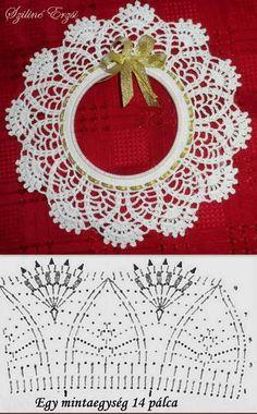 from Asahi Original Crochet Lace Cafe 2014 - Salvabrani - Salvabrani What a beautiful Christmas wreath - Salvabrani crochet patterns in thread Crochet Collar Pattern, Col Crochet, Crochet Borders, Crochet Chart, Thread Crochet, Crochet Gifts, Crochet Doilies, Free Crochet, Crochet Christmas Wreath