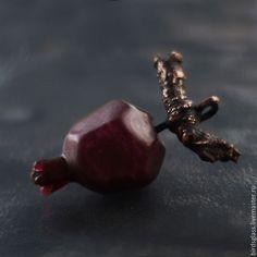 Купить Кулон Гранат - бордовый, красный, гранат, стекло, медь