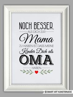 """Originaldruck - """"BESTE OMA"""" Kunstdruck, Muttertag Geschenk - ein Designerstück von Smart-Art-Kunstdrucke bei DaWanda"""