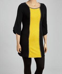 Look at this #zulilyfind! Black & Yellow Color Block Sweater Dress - Plus #zulilyfinds