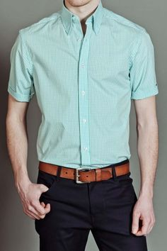 Report Collection S/S - Gingham Stretch Turquoise shirt - cut for slim & lanky body types | 37.00 from Jack Threads