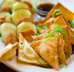 Brie or Goat Cheese Wontons Crispy Creamy Delight Sounds yummy for a party app or fancy at home tv Sports watching snack. I am for sure going to make these, this fall during football season. Wonton Recipes, Gourmet Recipes, Appetizer Recipes, Soup Recipes, Cooking Recipes, Snack Recipes, Healthy Recipes, Snacks, Party Recipes