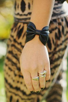 Black Leather Bow Bracelet by EsquaredJewels on Etsy, $20.00