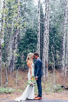 snowy wedding photography in the woods
