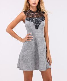 Love this Gray Lace-Yoke Fit & Flare Dress on #zulily! #zulilyfinds