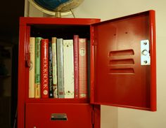 cookbook storage, love this idea! and it would fit in my kitchen.....thinking i may be off to look for a locker today!