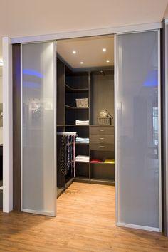 Sliding doors/walk in wardrobe Bedroom Closet Design, Bedroom Wardrobe, Closet Designs, Bedroom Decor, Walk In Wardrobe, Walk In Closet, Loft Storage, Bedroom Cupboards, Dressing Room Design