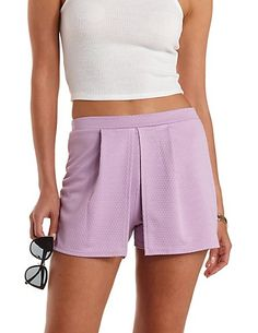 Pleated Overlay High-Waisted Shorts: Charlotte Russe