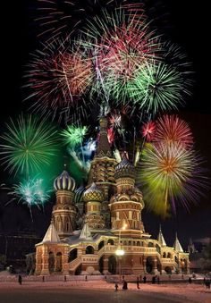 New Year's Eve fireworks display in Red Square, Russia