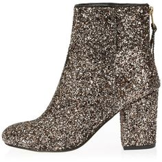 River Island Gold glitter block heel ankle boots ($80) ❤ liked on Polyvore featuring shoes, boots, ankle booties, yellow, yellow boots, zipper ankle boots, bootie boots, short boots and high heel ankle boots