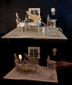 Piano book sculpture by Anemya Photo Creations.