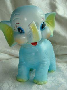 Vintage Kitsch Squeak Toy Elephant  Excellent by reginasstudio, $48.95