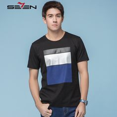 Seven7 Summer Men T-Shirts Short Sleeve O Neck Patchwork Block Colors Popular T Shirts Casual Tops Tees 100% Cotton 112T58100