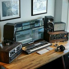 A much more simplistic setup, consisting of a monitor, a pair of speakers, and a couple of amps. This setup would be best used in the post/production phase, the mixing and mastering portion, finalizing the track so it can be released into the mainstream consciousness and consumed like any other piece of entertainment.