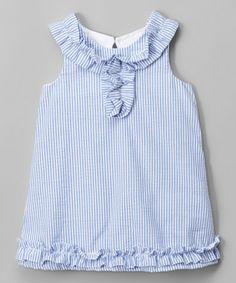 829b8a705b2 Blue Ruffle Seersucker Yoke Dress - Infant  amp  Toddler
