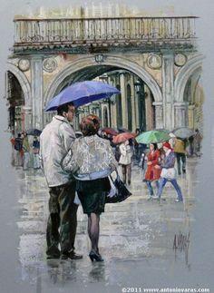 Antonio Varas de la Rosa (Spain, born 1954) PAREJA EN LA PLAZA