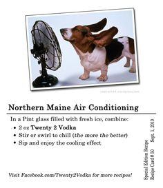 Northern Maine Air Conditioning #Cocktail #Recipe In a pint glass filled with ice, combine: 2 oz Twenty 2 Vodka Stir or swirl to chill (the more the better) Sip and enjoy the cooling effect #Vodka #Cool #PintGlass #Maine