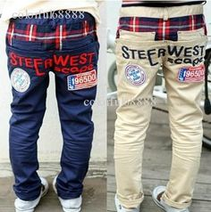 Free shipping 5pcs children trousers,children clothing,kids jeans,steer west scape children pants,Cotton embroidery 1965 on TradeTang.com