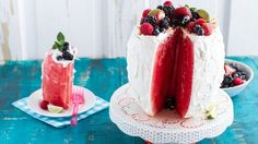 """Make a big old """"cake"""" out of watermelon and frost it with creamy coconut yogurt. Just add fresh berries, and dessert is served."""