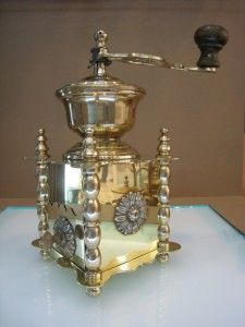 Polished Antique Brass Manual Coffee Grinde