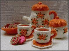 crocheted toy tea set
