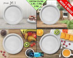 White Serving Plate on Kitchen Table, Napkin, Food | Plate Display Mockup SP1BG1  | 4 JPG scene | PSD smart object mockup | Custom colors