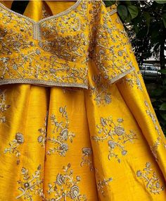 Mustard Yellow Wedding Lehenga with heavy zari work lehenga blouse in raw silk. Indian Lehenga, Raw Silk Lehenga, Yellow Lehenga, Lehenga Blouse, Sari, Anarkali Lehenga, Designer Bridal Lehenga, Bridal Lehenga Choli, Sewing Projects