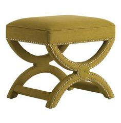 Tennyson Pistachio Linen Hollywood Regency Stool Nickel Studs