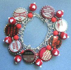 Vintage Cherry Soda Bottle Cap Charm Bracelet