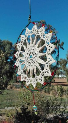 Dream Catcher Craft, Large Dream Catcher, Dream Catcher Boho, Crochet Mandala Pattern, Crochet Doilies, Crochet Patterns, Crochet Dreamcatcher, Macrame Owl, Hippie Crochet