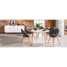 Lot de 6 chaises design scandinave imitation cuir - Gris- Vue 1