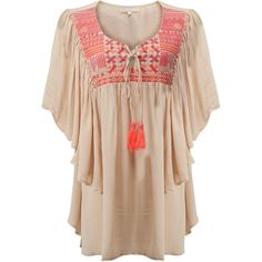 BLUE PEARL Belinda Tunic - Beige (2.325 RUB) ❤ liked on Polyvore featuring tops, tunics, beige, bohemian tops, criss cross top, bohemian tunic, loose tunic and boho tops
