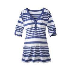 Liz Lange® for Target® Maternity 3/4 Sleeve Henley Top - Iris/White  Target