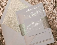 Foil Formal Rose Gold Wedding Invitations von JustInviteMe