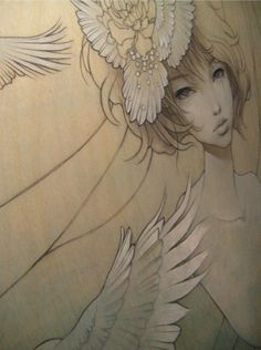 Asian + Art Nouveau = totally Shousetsu Bang Bang. Not this image, but I like the shaded white ink look for a tattoo.