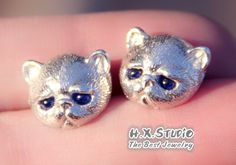 Silver Cat with Gemstone Eyes Earrings, 925 Silver Cat Ear Studs, Unique Cat Jewelry, Birthday, Christmas, Gift for Her, Wholesale Available