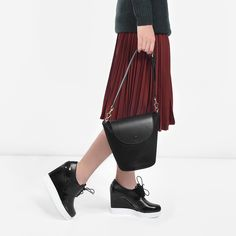 Mid-sized bucket bag with front-flap magnetic snap closure. Carry it as a handbag or crossbody bag with the adjustable strap. Charles Keith, Bucket Bag, Crossbody Bag, Amp, Black, Fashion, Moda, Black People, Fashion Styles